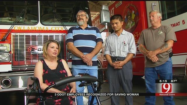 OKC Fire Honors 3 Men For Saving Woman's Life