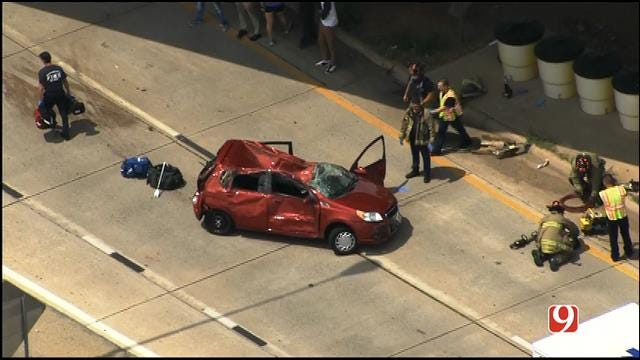 WEB EXTRA: SkyNews9 Flies Over Rollover Crash In NW OKC
