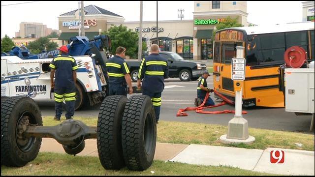 WEB EXTRA: School Bus Loses Rear Axle In NW OKC