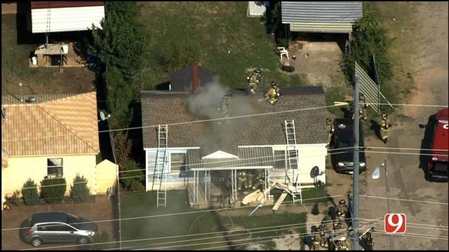 WEB EXTRA: SkyNews 9 Flies Over House Fire In SW OKC