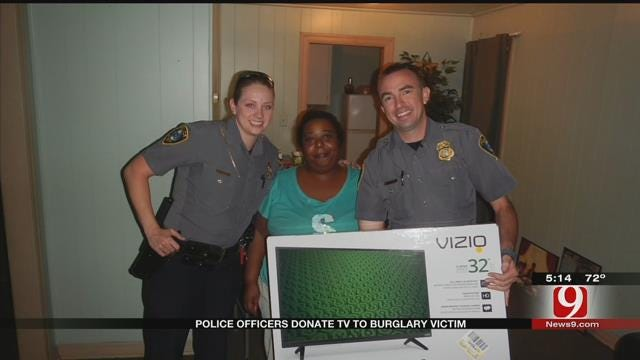 OKC Police Officers Chip In To Buy Burglary Victim A New TV