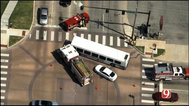 WEB EXTRA: SkyNews 9 Flies Over Crash Involving Fire Truck, Bus
