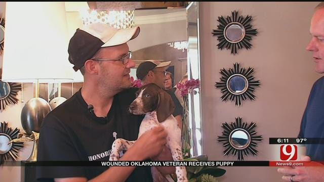 Wounded Oklahoma Veteran Receives Puppy