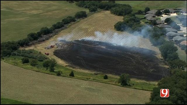 WEB EXTRA: SkyNews 9 Flies over Grass Fire In NW OKC