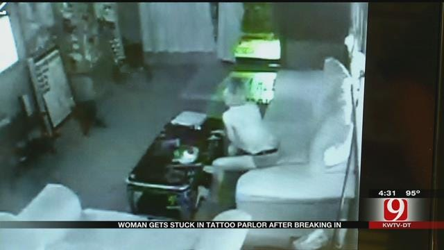 OKC Police: Woman Breaks Into Tattoo Shop, Traps Self Inside