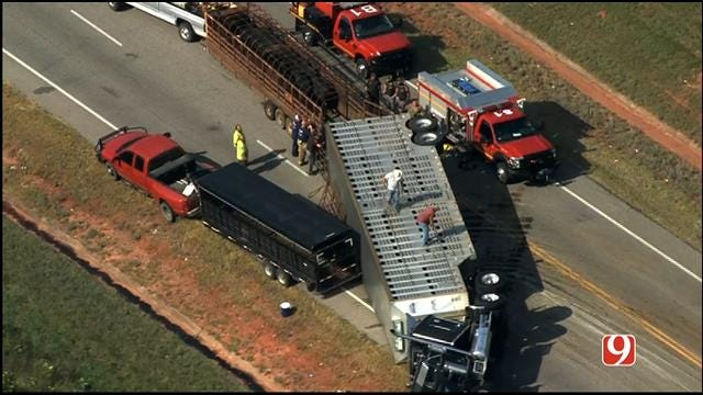 WEB EXTRA: SkyNews 9 Flies Over Overturned Cattle Truck South Of Shawnee