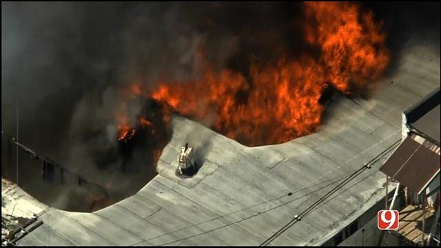 WEB EXTRA: Bob Mills SkyNews 9 HD Flies Over Large Fire In Hinton