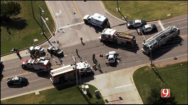 WEB EXTRA: SkyNews 9 Flies Over Multi-Vehicle Crash In SW OKC