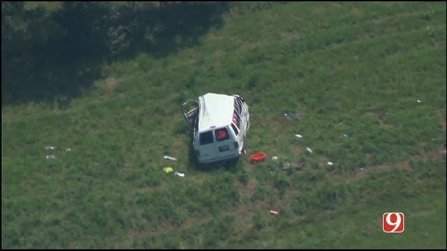 WEB EXTRA: Shawnee Church Van Involved In Crash On Will Rogers Turnpike
