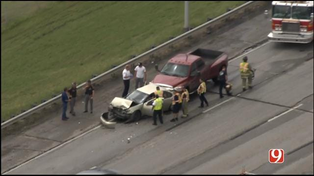WEB EXTRA: SkyNews 9 Flies Over Wrecks On I-44 In NW OKC