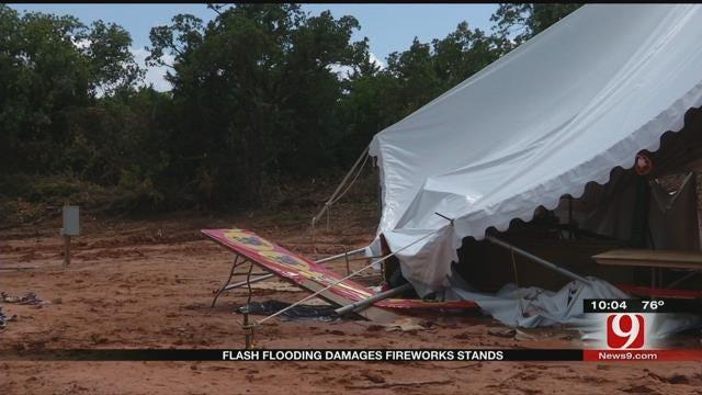 Flash Flooding Damages Fireworks Stand