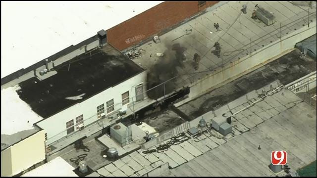WEB EXTRA: SkyNews 9 Flies Over Commercial Fire In SW OKC
