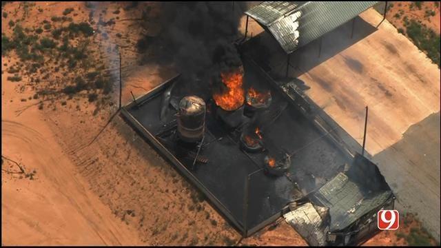 WEB EXTRA: SkyNews 9 Flies Over Well Explosion In Hammon