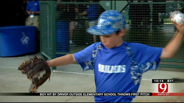10-Year-Old Accident Victim Throws Ceremonial First Pitch
