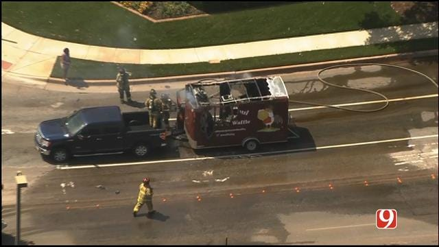 WEB EXTRA: SkyNews 9 Flies over Food Truck Fire In NW OKC