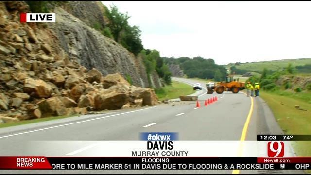 Interstate 35 Partially Open After Rockslide Near Davis