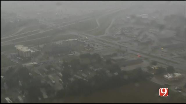 WEB EXTRA: Bob Mills SkyNews 9 HD Flies Over Flooding In Pauls Valley
