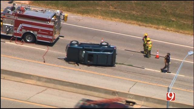 WEB EXTRA: SkyNews 9 Flies Over Rollover Wreck On I-35 In Edmond