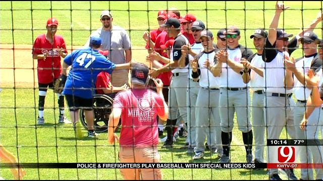 Edmond Police, Firefighters Play Baseball With Special Needs Children