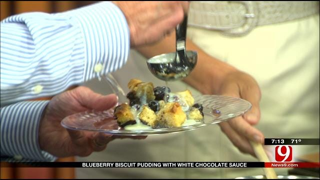 Made In Oklahoma: Blueberry Biscuit Pudding