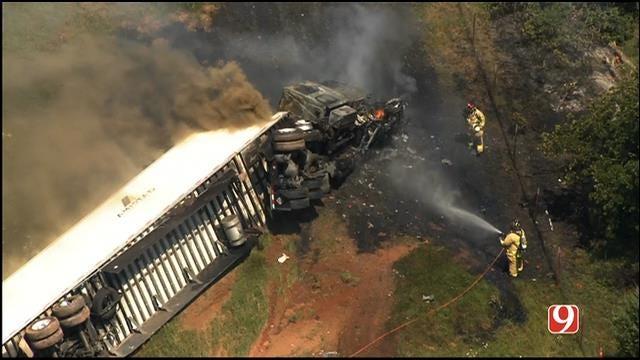 WEB EXTRA: SkyNews 9 Flies Over Semi Crash on I-44 Near Luther