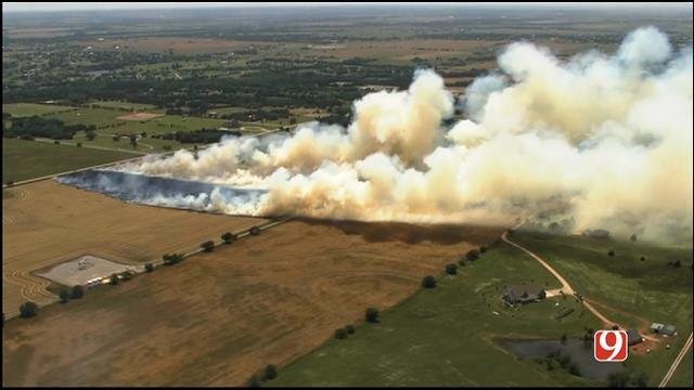 WEB EXTRA: SkyNews 9 Flies Over Grass Northwest Of Edmond