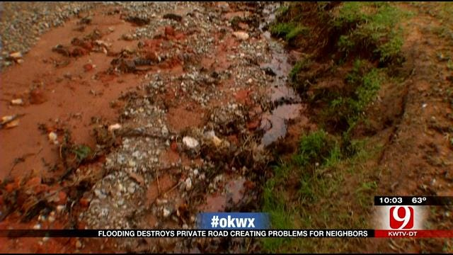 Storms Wash Out Cleveland Co. Road, Residents Stranded