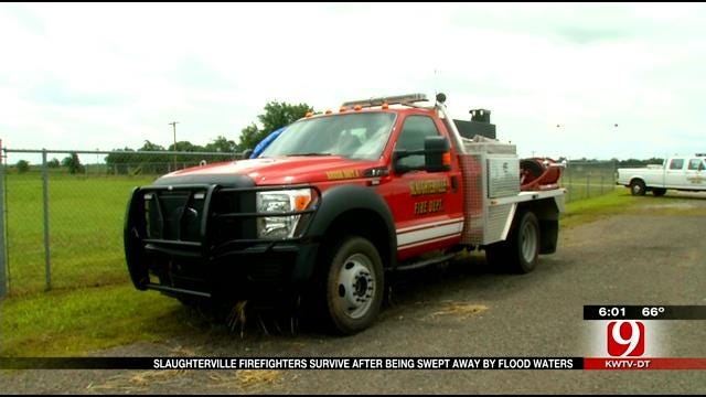Slaughterville Fire Crews Rescued From Truck During Flood