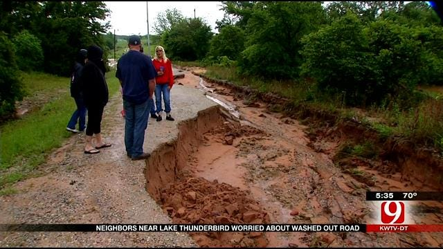 Neighbors Near Lake Thunderbird Worried About Washed-Out Road
