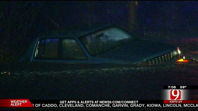 Fire Crews Pull Family From Flooded Vehicle In SE OKC