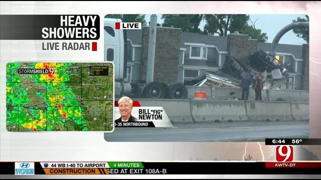 Semi Wreck Closes Parts Of I-35 NB In Norman