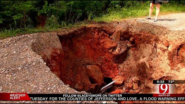 Sinkhole Traps Residents In McLoud