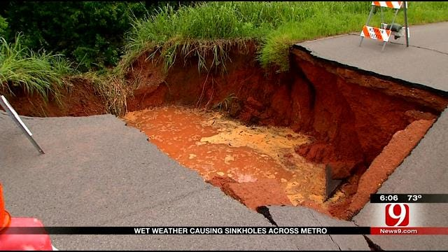 Drivers Near Norman Sink Hole Dealing With Detour