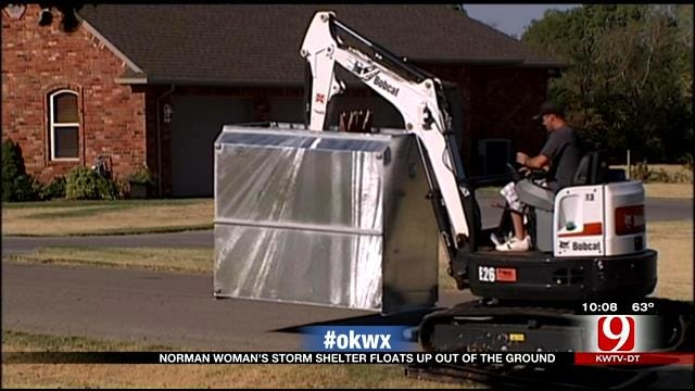 Norman Woman's Storm Shelter Floated Above Ground After Severe Storm