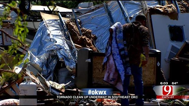 Tornado Clean Up Underway At SE OKC RV Park