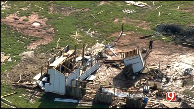 WEB EXTRA: Bob Mills SkyNews 9 HD Flies Over Tornado Damage In Bridge Creek