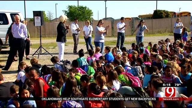 Oklahomans Help Southgate Elementary Students Get New Backpacks