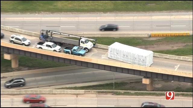 WEB EXTRA: SkyNews9 Flies Over Another Semi Crash At I-40, I-44 Junction