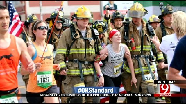 MWC Firefighters Help Runner Finish Memorial Marathon
