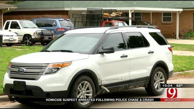 OKC Murder Suspect In Custody Following Pursuit and Crash