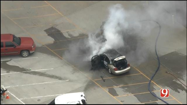 WEB EXTRA: SkyNews 9 Flies Over Car Fire At NWS