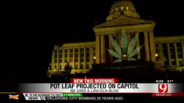 Picture Of Marijuana Leaf Projected Onto OK State Capitol Building
