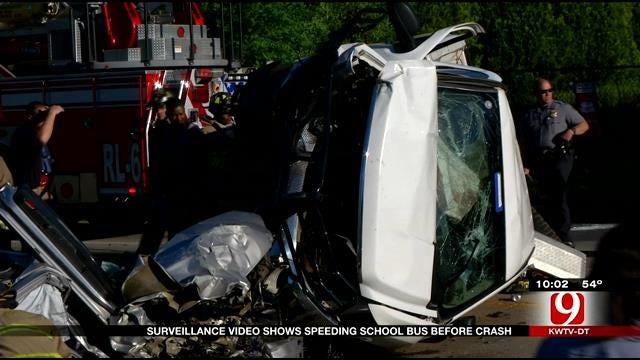 Surveillance Video Shows Moments Before Bus Crash In SE OKC