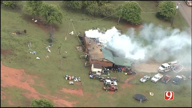 WEB EXTRA: SkyNews 9 Flies Over House Fire East Of Luther