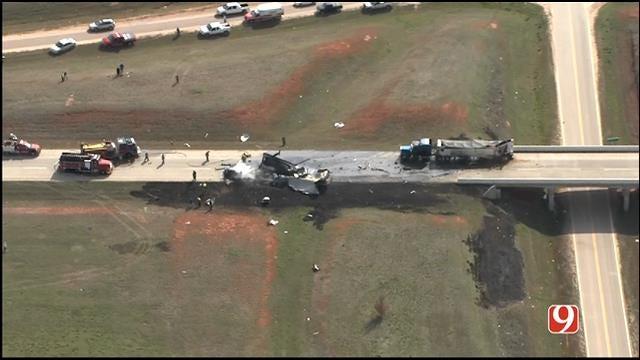 WEB EXTRA: Bob Mills SkyNews 9 HD Flies Over Deadly Semi Crash