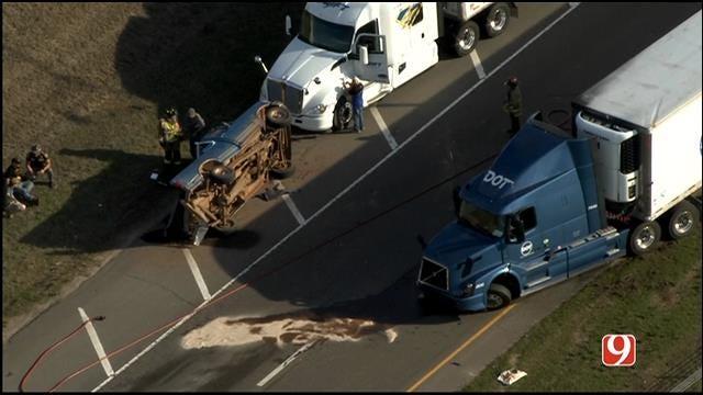 WEB EXTRA: SkyNews 9 Flies Over Semi Crash On I-35