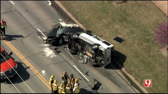 WEB EXTRA: SkyNews 9 Flies Over Head-On Crash In Edmond
