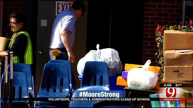 Moore Educators Band Together To Help Cleanup At Southgate Elementary