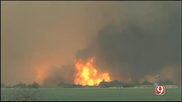 WEB EXTRA: Wildfire Rages Out Of Control In Woodward County