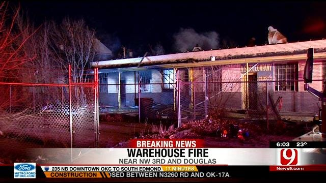Authorities Investigate Cause Of Vacant Warehouse Fire In OKC